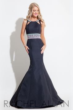 Textured mermaid gown with beaded belt and cut outs on shoulder