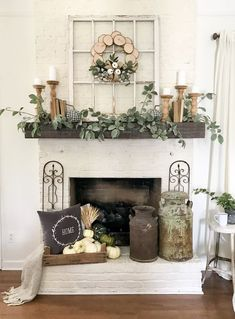 96 Beautiful Farmhouse Fireplace Mantel Decorations That Will Make – Farmhouse… - Fireplace Decor Home Living Room, Living Room Designs, Living Room Mantle, Rustic Living Rooms, Farmhouse Living Room Decor, Coastal Living, Living Area, Farmhouse Fireplace Mantels, Rustic Fireplace Decor