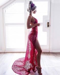 Elegant Prom Dresses, Sheath Spaghetti Straps Backless High Split Red Lace Prom Dress with Beading Shop for La Femme prom dresses. Elegant long designer gowns, sexy cocktail dresses, short semi-formal dresses, and party dresses. Cute Spring Outfits, Sexy Outfits, Sexy Dresses, Beautiful Dresses, Evening Dresses, Prom Dresses, Hottest Dresses, Beach Formal Dresses, Pretty Outfits
