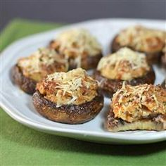 """Sideline Stuffed Mushrooms Recipe   Recipe by Hot Dog Sausage Council   """"Great appetizer or side dish"""""""