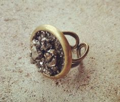 Rock Steady Ring. pyrite and antique brass. awesome