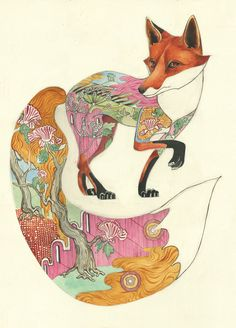 This would make an amazing wall decal.   Watercolour of a red fox with pattern