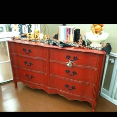 Red French provincial dresser!
