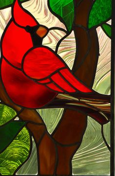 Stained Glass Red Cardinal by JoannePaoneGill on Etsy