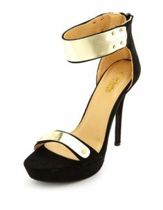 metallic ankle cuff platform heel, perfect to bling out anything.