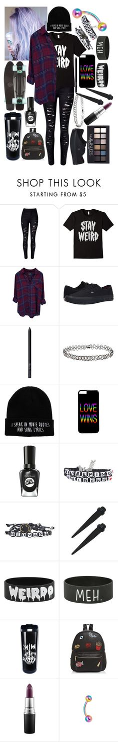 """Weirdo"" by sleeping-horizon-empires ❤ liked on Polyvore featuring WithChic, Rails, Vans, NARS Cosmetics, Miss Selfridge, Hot Topic, Sally Hansen, Ollie & B, Maybelline and MAC Cosmetics"