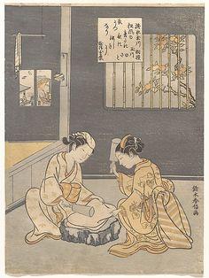搗衣  Fulling Cloth at the Jewel River (Kinuta no Tamagawa)  Suzuki Harunobu  (Japanese, 1725–1770)  Period: Edo period (1615–1868) Date: ca. 1768 Culture: Japan Medium: Polychrome woodblock print; ink and color on paper