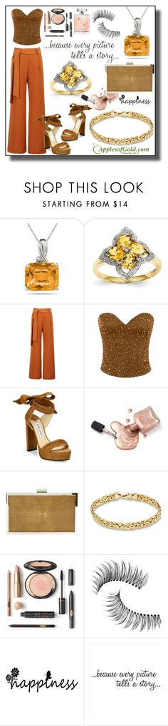 """""""Citrine Flower and Diamond Ring from ApplesofGold.com!"""" by samra-bv ❤ liked on Polyvore featuring WithChic, Jimmy Choo, Calvin Klein Collection, Trish McEvoy, WALL and applesofgold"""
