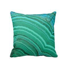 Malachite Throw Pillow Cover, Bright Green & Blue/Green Faux Stone Print Pillows/Covers