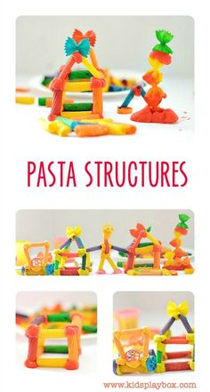 RAINBOW Pasta Structures - fun fine motor and engineering activity for kids using pasta and play dough! Use gum drops? Steam Activities, Science Activities, Preschool Activities, Preschool Learning, Rainbow Pasta, Pasta Crafts, Art For Kids, Crafts For Kids, Pasta Art