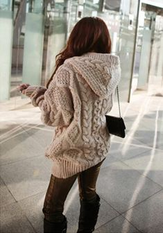 Khaki Geometric Collar With Hat Cable Knit Loose Wool Hooded Cardigan