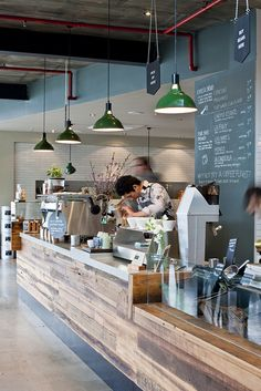Market Lane Coffee | Melbourne-use wood panels for front of breakfast bar instead of boring wall color