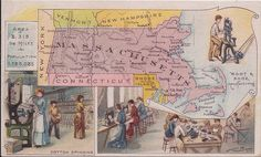 Massachusetts, Arbuckle Bros., Donaldson Bros. (Published: 1889. New York)  No. 62 map and color lithograph of Cotton spinning, Boot & Shoe manufacturing