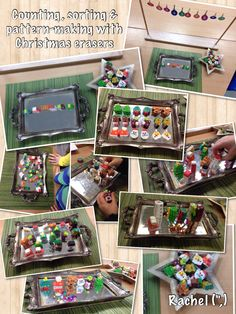"""Counting, sorting & pattern-making with Christmas erasers - from Rachel ("""",)"""