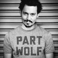 Part Wolf triblend T-shirt. Human, but when you're hungry it's like you're some sort of wild animal or something. Ultra soft heather grey tri-blend. 50% polyester / 37% cotton / 13% rayon ultra soft k