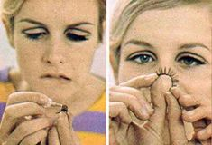 """""""I use different kinds, usually the double thick hair ones. Often I put on two or three at a time. Then I mascara over them with black mascara. 1960s Makeup, Twiggy Makeup, Flapper Hair, Mod Girl, Raised Eyebrow, Brown Eyeliner, Eye Makeup Steps, Boyish, Thick Hair"""