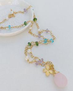 Multicolour Quartz and freshwater pearl  Necklace. Cluster Necklace, Tourmaline Gemstone, Freshwater Pearl Necklaces, Fresh Water, Jewelery, Dangles, Quartz, Beaded Bracelets, Gemstones
