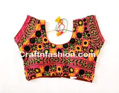 Indian Saree Readymade Blouse- Colourful kutch embroidered saree blouse