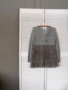 x small medium Romantic sweater dress tunic by lillienoradrygoods, $67.50