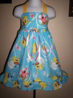 Boutique SPONGEBOB DRESS Girl 3m 6m 9m 12m 18m by SarahsRainbow, $44.99
