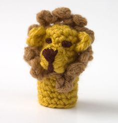 Finger puppets take just a tiny bit of yarn - don't stick to my color suggestions, use what you have laying around! Prefer a lioness? Leave off the mane!