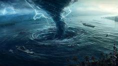 agua, arte digital, mar, tornado, tormenta, relámpago, barco ...