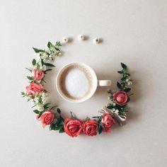 Artist Keeps Beautiful Visual Diary of Coffee She Drinks Surrounded by Flowers