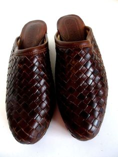 Cole Haan Country Women's Shoes Woven Mules Brown Leather Slides Clogs 7M NEW #ColeHaan #Mules