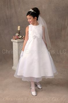 6834 Sarah Satin dress with organza overlay accented with pearl and sequin appliques throughout. Girls White Dress, Little Girl Dresses, Girls Dresses, Flower Girl Dresses, Flower Girls, White Communion Dress, Girls Communion Dresses, Communion Hairstyles, First Communion Veils