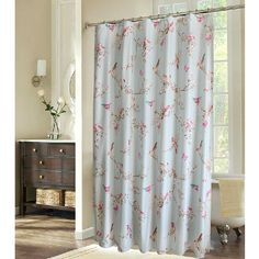 Shabby Chic Blue Floral Bird Luxury Shower Curtains