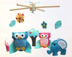 Baby Crib Mobile - Baby Mobile - Owl and Elephant Mobile