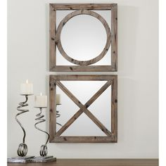 Uttermost Baci E Abbracci Wooden Mirrors - Set of 2 - 18W x 18H in. | from hayneedle.com