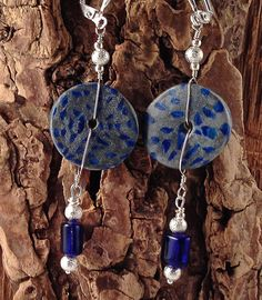 Azurite in Native Silver, Polymer Clay Earrings with Silver Beads and Czech Crystals by SusanDolphinDelaney
