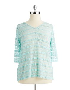 KAREN KANE WOMENSPlus Sheer Lace Blouse Get romantic style with this blouse from Karen Kane. Featuring a V-neckline, three-quarter sleeves and a sheer lace fabrication, tuck  this top into a simple pencil skirt for a stunning, professional look.