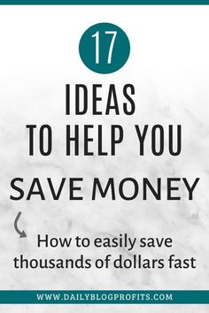 Discover the best tips and ideas to save money fast with these 17 money saving hacks. Make Money Fast, Ways To Save Money, Money Saving Tips, Managing Money, Saving Ideas, Budgeting Finances, Budgeting Tips, Frugal Tips, Finance Tips