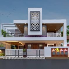 "modern bungalow elevation ""Design is not just what it looks like and feels like. Design is how it works."" Get your home design by us… Modern Bungalow Exterior, Modern Exterior House Designs, Modern House Facades, Latest House Designs, Modern House Design, Exterior Design, Villa Design, Facade Design, Design Design"
