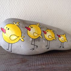 Painted rock with chicks