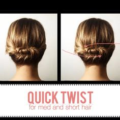 Divide hair in two sections. Twist one side, secure with bobby pins. Twist other side. Nice!