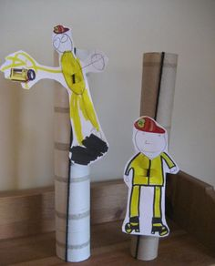 Firefighter craft that slides down a pole. This is pretty cute too @Kelsey Myers Hebert