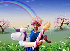 Ride-inside balloon pony, balloon crown and balloon princess wand.