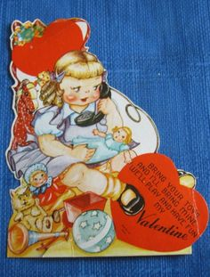 """GIRL w/ DOLLS ON PHONE """"BRING YOUR TOYS"""" VINTAGE VALENTINE CARD 40s"""