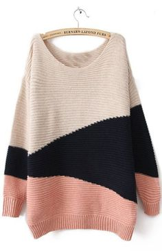 Red Black Beige Long Sleeve Geometric Asymmetrical Sweater