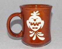 Cute Retro Kitsch Bird Etched Ceramic Diner Mug