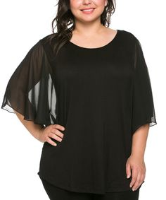 Look at this Celeste Black Chiffon Angel-Sleeve Top - Plus on #zulily today!