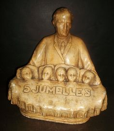 Rare Early Bust Dr Defoe and the 5 Dionne Quints, 5 Jumelles