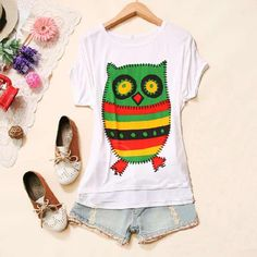 Casual Loose Fitting Owl Printed Scoop Neck Short Sleeve Cotton T-Shirt for Women (WHITE,ONE SIZE) China Wholesale - Sammydress.com