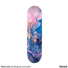 Shop Watercolor Skateboard created by Deegeescustomgifts. Painted Skateboard, Skateboard Deck Art, Skateboard Design, Skateboard Girl, Longboard Design, Cool Skateboards, Galaxy Print, Animal Skulls, Paint Designs