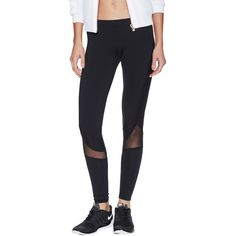 SOLOW Leggings with Mesh Panels ($49) ❤ liked on Polyvore featuring pants, leggings, black, stretch waist pants, knit leggings, black panel leggings, black knit pants and black elastic waist pants