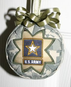Army Fabric Quilted Ornament ball by WreathsByKari on Etsy, $8.50