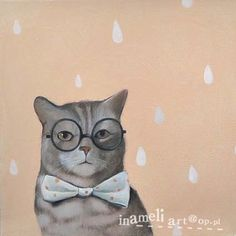 lovely cat portrait in black glasses modern animal by inameliart, $79.00